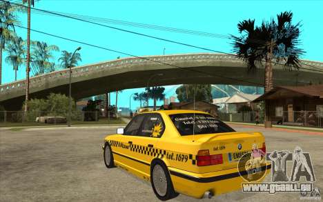 BMW 525tds E34 Taxi pour GTA San Andreas sur la vue arrière gauche