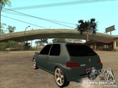 Peugeot 106 GTI Tuning pour GTA San Andreas sur la vue arrière gauche