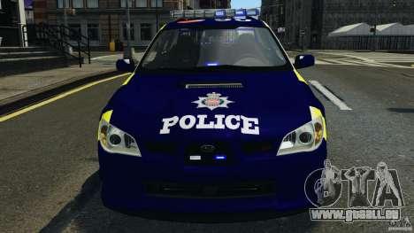 Subaru Impreza British ANPR [ELS] für GTA 4 obere Ansicht