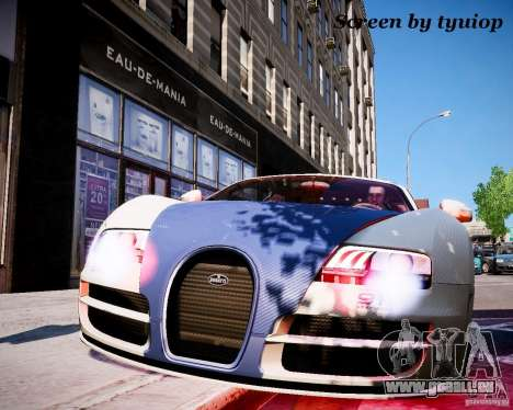Bugatti Veryon SS COP pour GTA 4 Vue arrière de la gauche