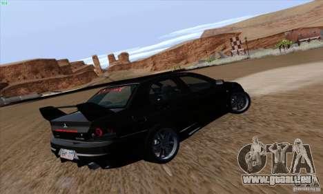 Mitsubishi Lancer EVO VIII BlackDevil pour GTA San Andreas vue arrière