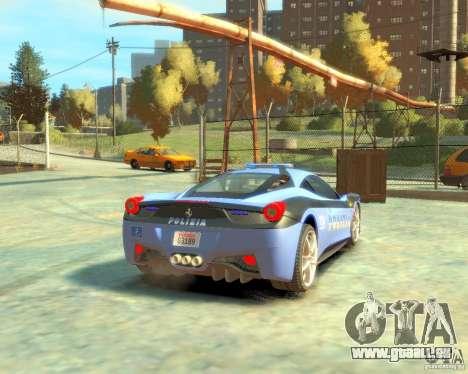 Ferrari 458 Italia Police pour GTA 4 est un droit