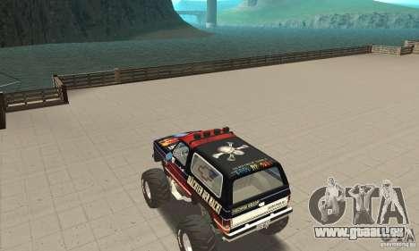 Chevrolet Blazer K5 Monster Skin 5 für GTA San Andreas zurück linke Ansicht