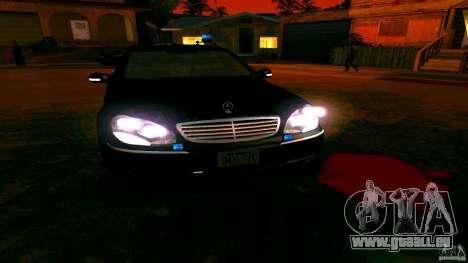 Mercedes S500 pour GTA San Andreas vue intérieure