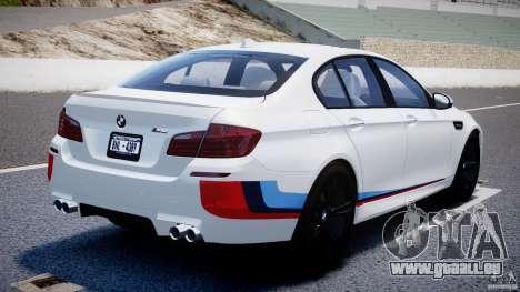 BMW M5 F10 2012 M Stripes pour GTA 4 Vue arrière de la gauche