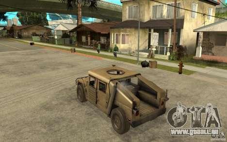 Hummer H1 War Edition für GTA San Andreas zurück linke Ansicht