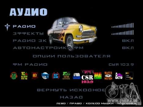 Le nouveau menu du jeu pour GTA San Andreas deuxième écran