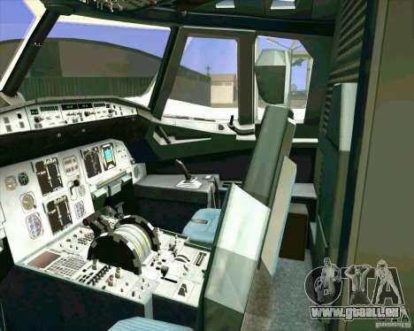 Airbus A-320 compagnie aérienne UTair pour GTA San Andreas vue de dessus