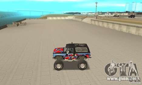 Chevrolet Blazer K5 Monster Skin 1 pour GTA San Andreas laissé vue