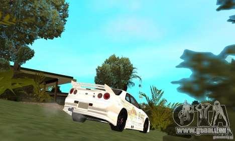 Nissan SkyLine R34 Tunable V2 pour GTA San Andreas sur la vue arrière gauche