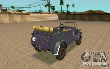 Kuebelwagen v2.0 normal pour GTA San Andreas sur la vue arrière gauche