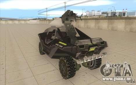 Halo Warthog pour GTA San Andreas sur la vue arrière gauche