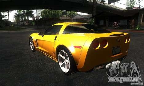 Chevrolet Corvette Grand Sport 2010 pour GTA San Andreas sur la vue arrière gauche
