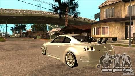 Infiniti G35 pour GTA San Andreas sur la vue arrière gauche