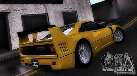 Ferrari F40 GTE LM für GTA San Andreas linke Ansicht