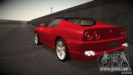 Ferrari 575 Superamerica v2.0 für GTA San Andreas zurück linke Ansicht