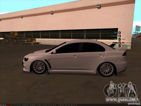 Mitsubishi Lancer Evolution X pour GTA San Andreas laissé vue