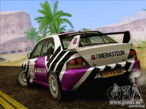 Mitsubishi Lancer Evolution IX Rally pour GTA San Andreas vue de dessous