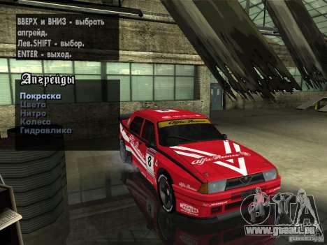 Alfa Romeo 75 Turbo Evoluzione pour GTA San Andreas vue de dessus