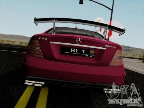 Mercedes Benz C63 AMG Coupe Presiden Indonesia für GTA San Andreas zurück linke Ansicht