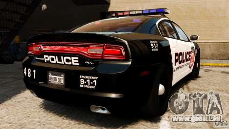 Dodge Charger RT Max Police 2011 [ELS] pour GTA 4 Vue arrière de la gauche