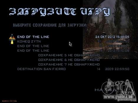 Wichtigsten Menüstil Stalker für GTA San Andreas fünften Screenshot