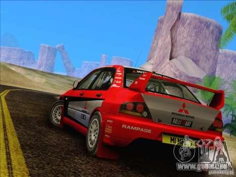 Mitsubishi Lancer Evolution IX Rally pour GTA San Andreas vue de droite
