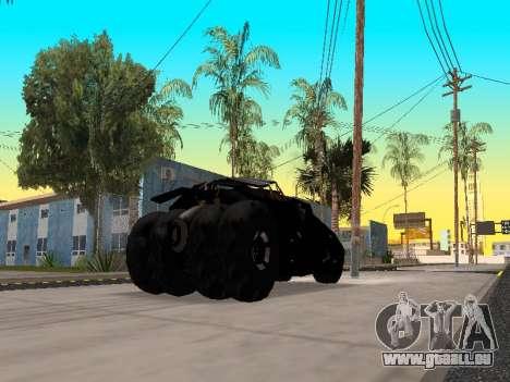 Tumbler Batmobile 2.0 pour GTA San Andreas sur la vue arrière gauche