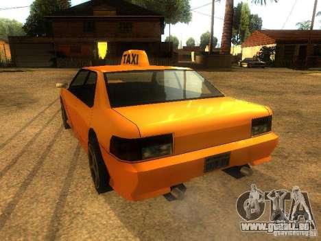 Taxi Sultan pour GTA San Andreas sur la vue arrière gauche