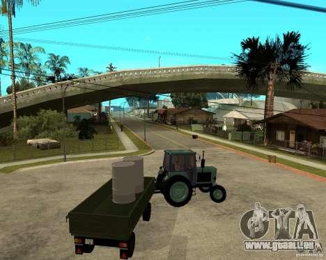 Tracteur Belarus 80,1 et remorque pour GTA San Andreas vue de dessous