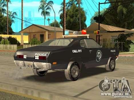 Plymout Duster 340 POLICE v2 pour GTA San Andreas sur la vue arrière gauche