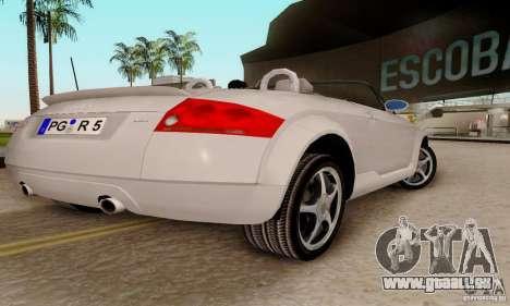 Audi TT Roadster pour GTA San Andreas sur la vue arrière gauche