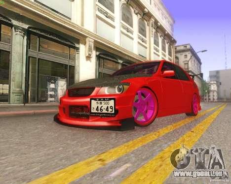 Toyota Altezza Drift Style v4.0 Final pour GTA San Andreas vue de dessus