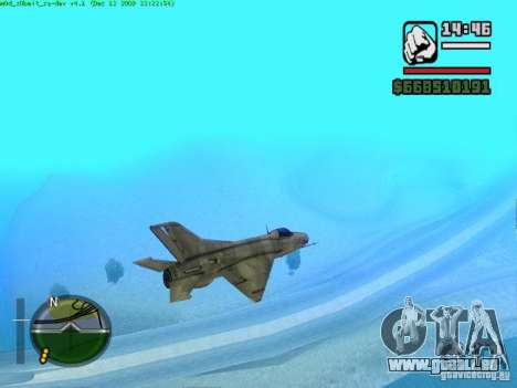 MIG 21 neuf pour GTA San Andreas sur la vue arrière gauche