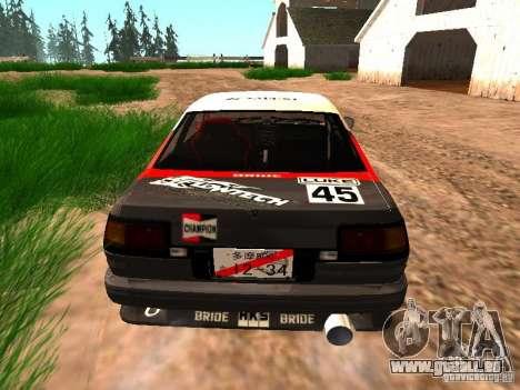 Toyota AE86 Coupe für GTA San Andreas rechten Ansicht