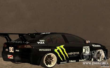 Mitsubishi Lancer Evolution X Monster Energy für GTA San Andreas zurück linke Ansicht