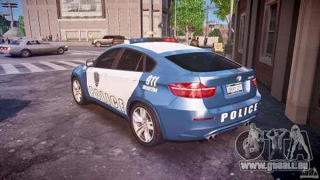 BMW X6M Police pour GTA 4 Vue arrière de la gauche