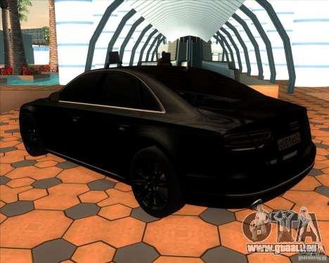 Audi A8 2010 v2.0 pour GTA San Andreas sur la vue arrière gauche