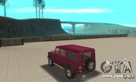 Land Rover Defender 110SW pour GTA San Andreas sur la vue arrière gauche