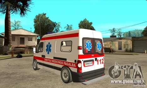 Renault Master Ambulance pour GTA San Andreas sur la vue arrière gauche