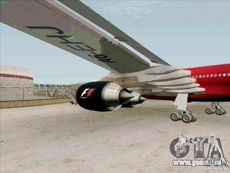 Airbus A-340-600 Formula 1 für GTA San Andreas Rückansicht
