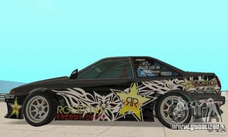 Toyota AE86wrt Rockstar pour GTA San Andreas sur la vue arrière gauche