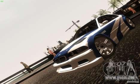 BMW M3 GTR pour GTA San Andreas vue arrière