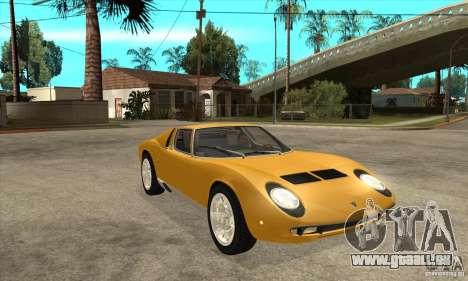 Lamborghini Miura 1966 für GTA San Andreas Rückansicht