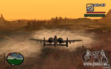 Thunderbold A-10 pour GTA San Andreas sur la vue arrière gauche