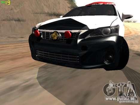 Lexus CT200H Japanese Police für GTA San Andreas Innenansicht