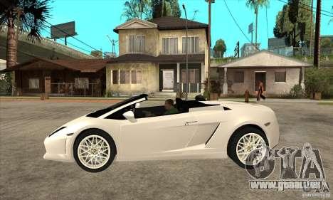 Lamborghini Gallardo Spyder v2 pour GTA San Andreas laissé vue