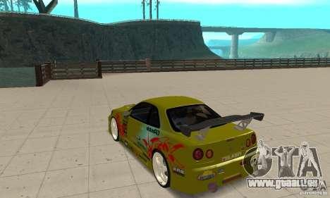 Nissan Skyline R34 GTR pour GTA San Andreas sur la vue arrière gauche