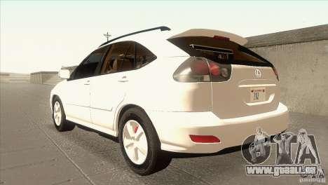 Lexus RX350 für GTA San Andreas zurück linke Ansicht