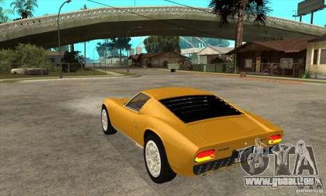 Lamborghini Miura 1966 pour GTA San Andreas sur la vue arrière gauche